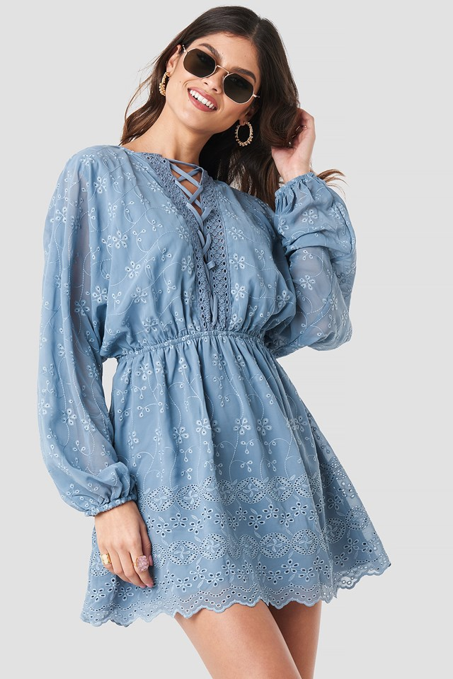 Lace Up Lace Dress Blue Stone