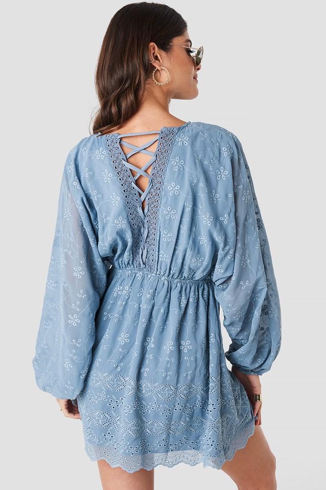 Lace Up Lace Dress Blue Stone