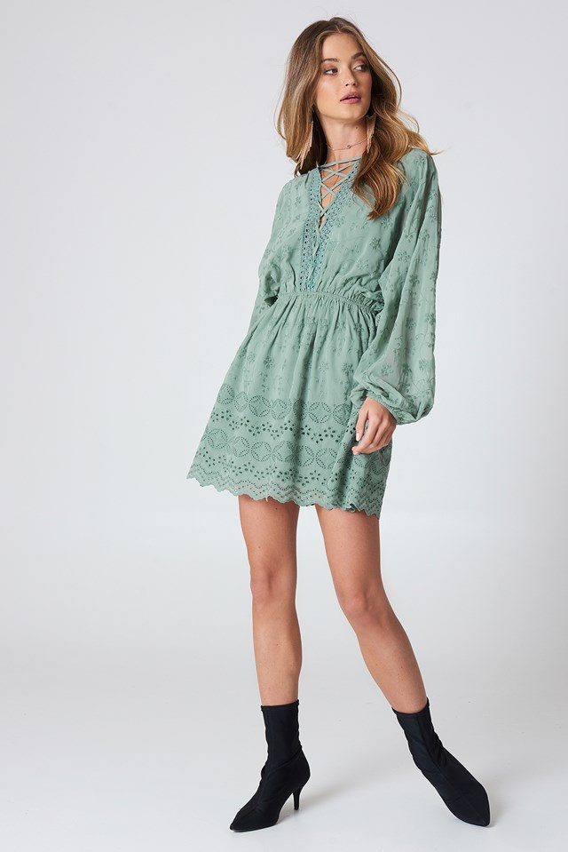 Lace Up Lace Dress Duck Green