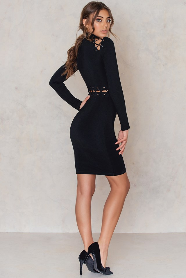 Laced Waist Dress Black