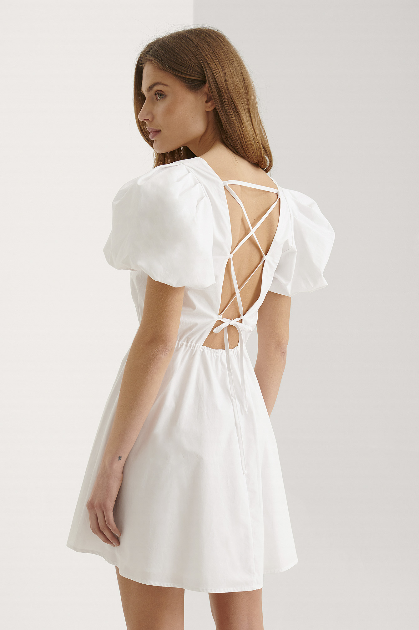 White Organic Lacing Back Cotton Dress