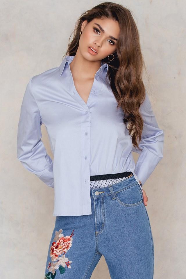 Lacing Back Shirt Blue