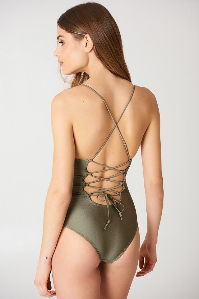 Lacing Back Swimsuit Dark Sand