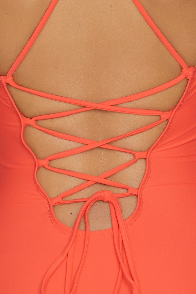 Lacing Back Swimsuit Hot Coral
