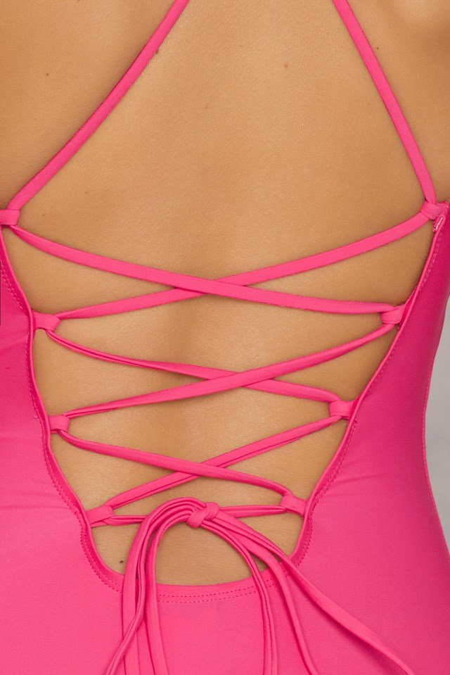 Lacing Back Swimsuit Strong pink