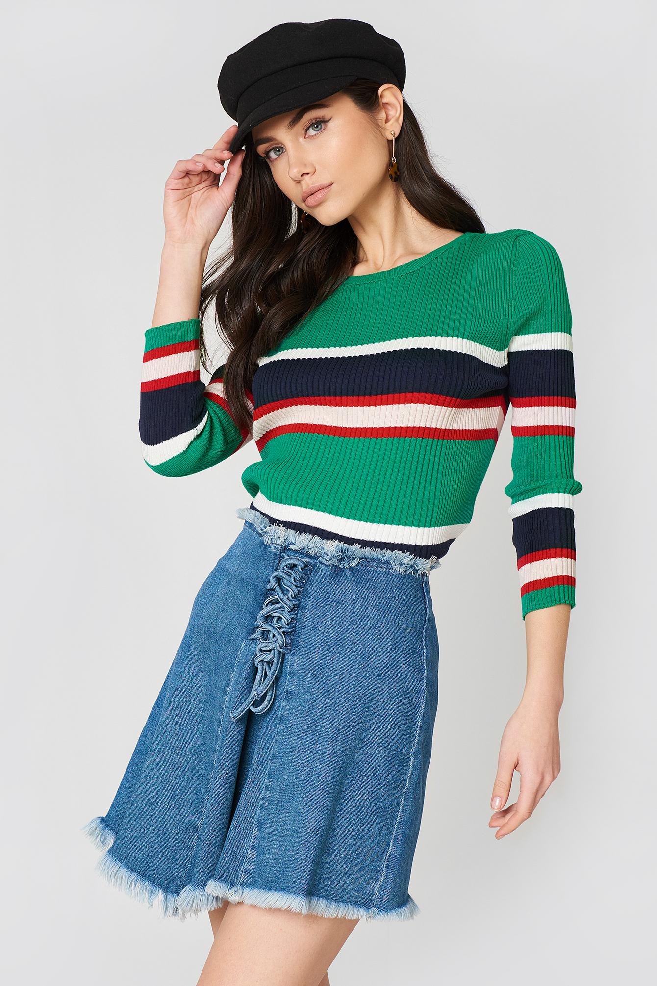 Lacing Front Denim Skirt NA-KD.COM