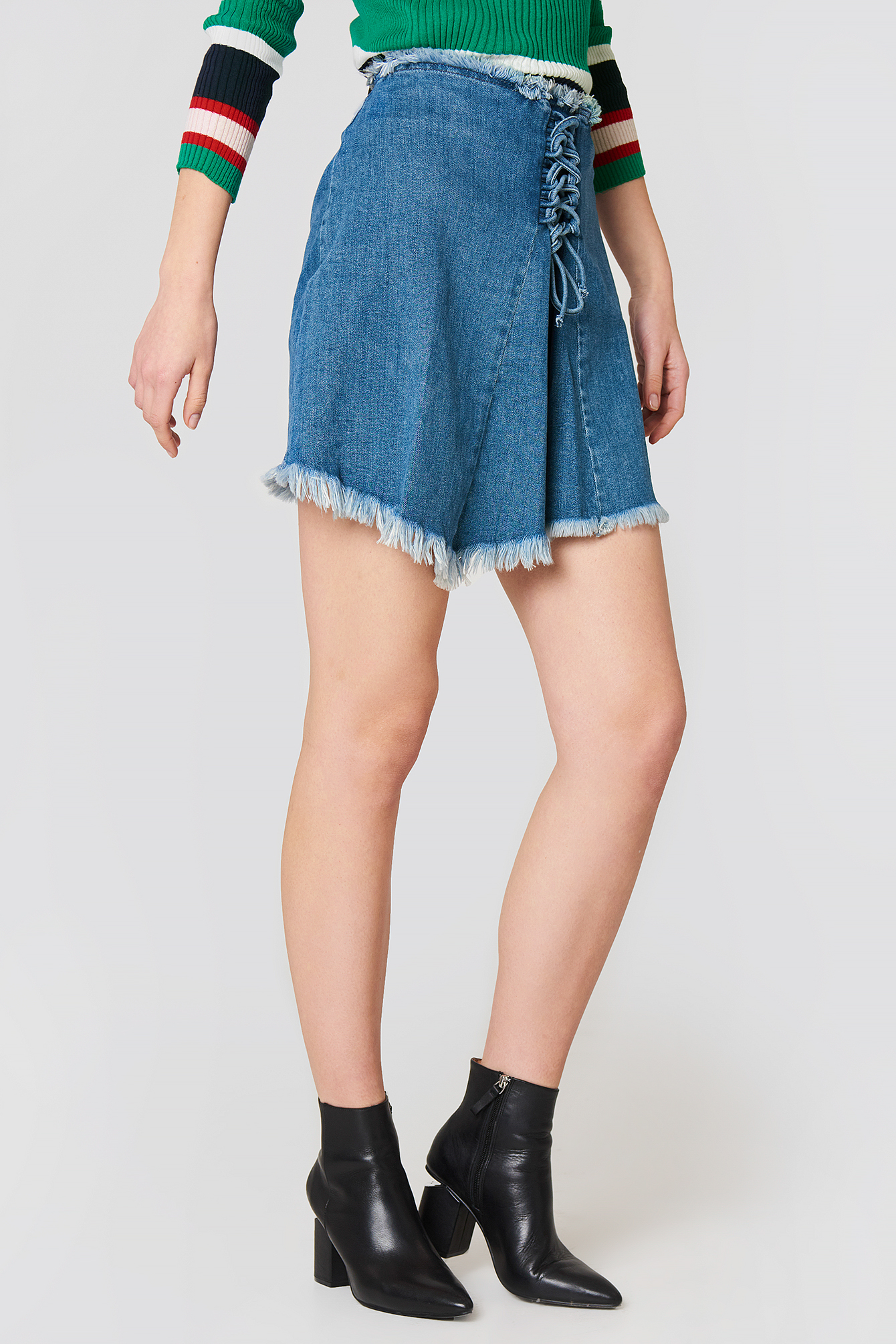 Lacing Front Denim Skirt NA-KD.COM