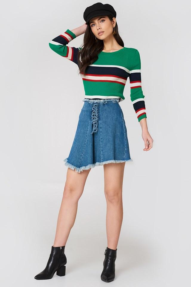 Lacing Front Denim Skirt Mid Blue