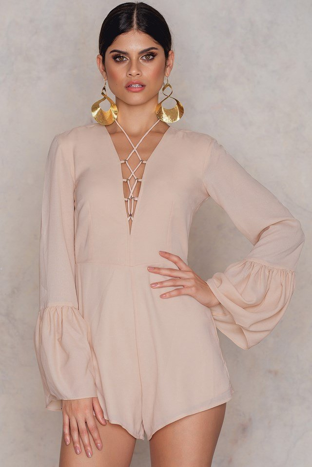 Lacing Front Wide Sleeve Playsuit Pink