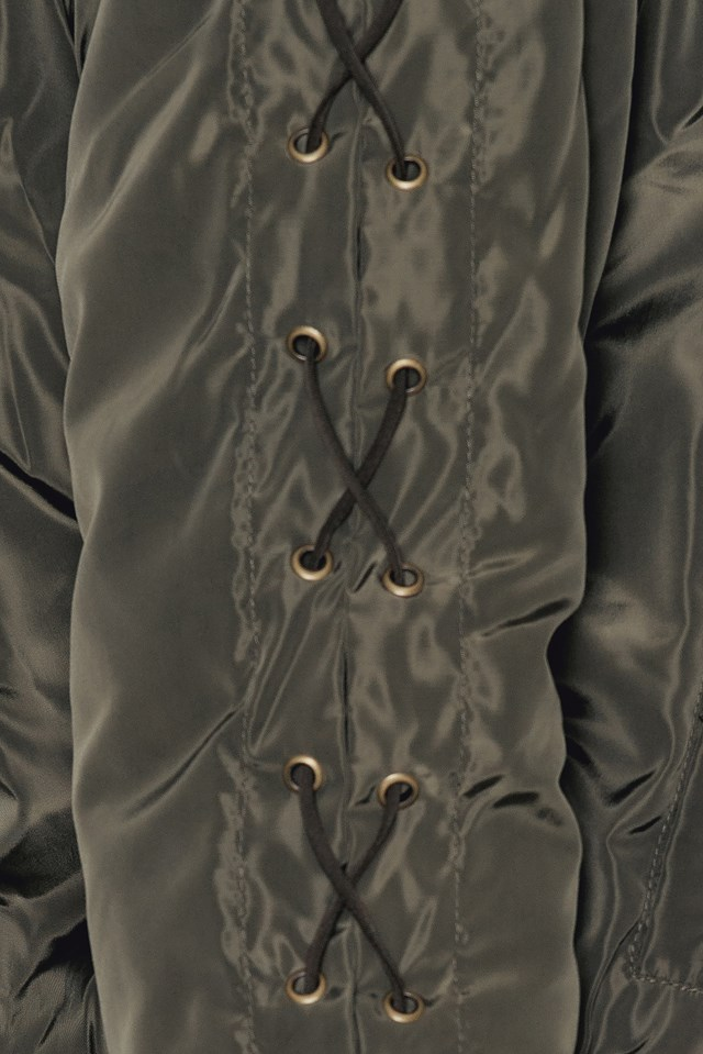 Lacing Sleeve Bomber Jacket Army Green