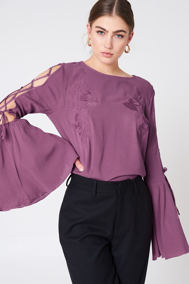 Lacing Sleeve Embroidery Top Dusty Purple