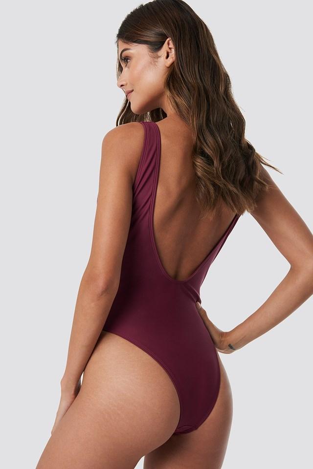 Lacing Waist Swimsuit Burgundy