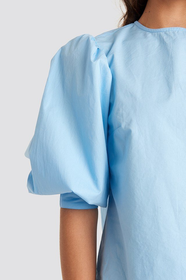 Large Cuff Puff Cotton Blouse Light Blue