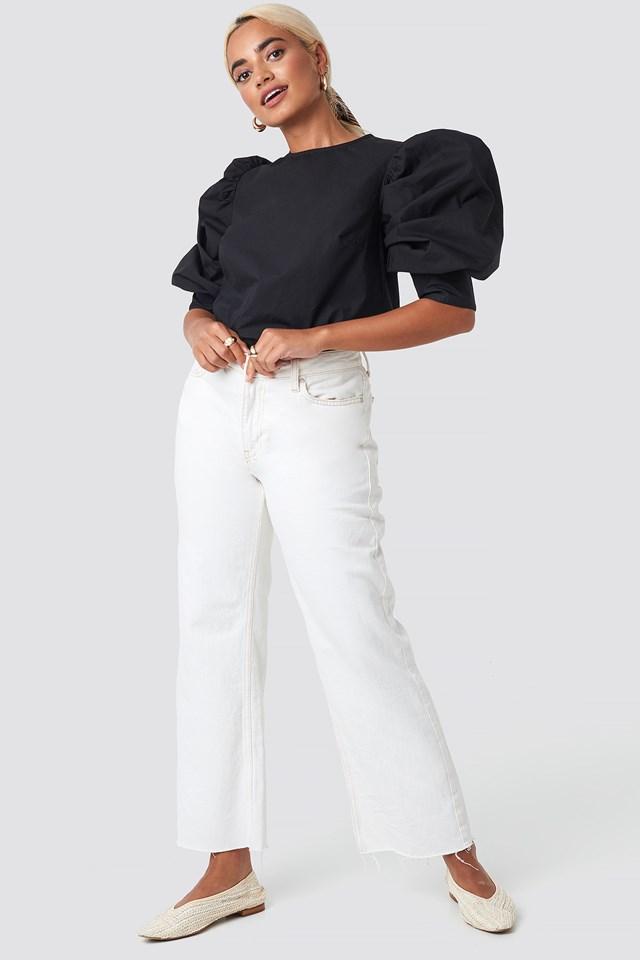 Large Cuff Puff Cotton Blouse NA-KD.COM