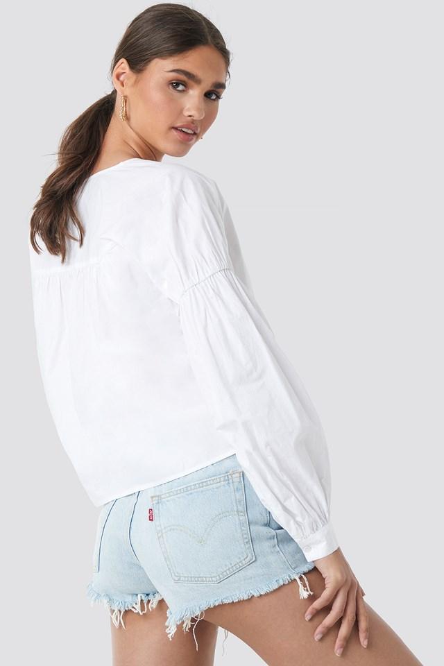Large Sleeve V-Neck Cotton Blouse NA-KD.COM