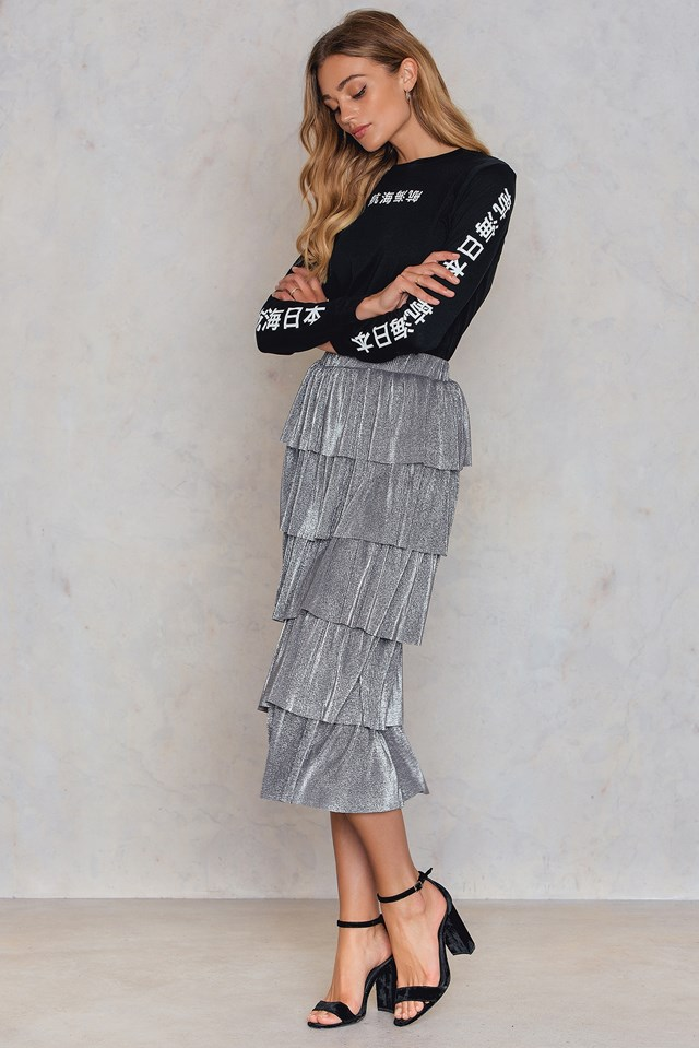 Layer Metallic Midi skirt Silver