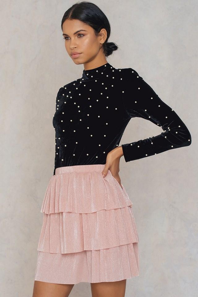 Layer Metallic Mini skirt Pink