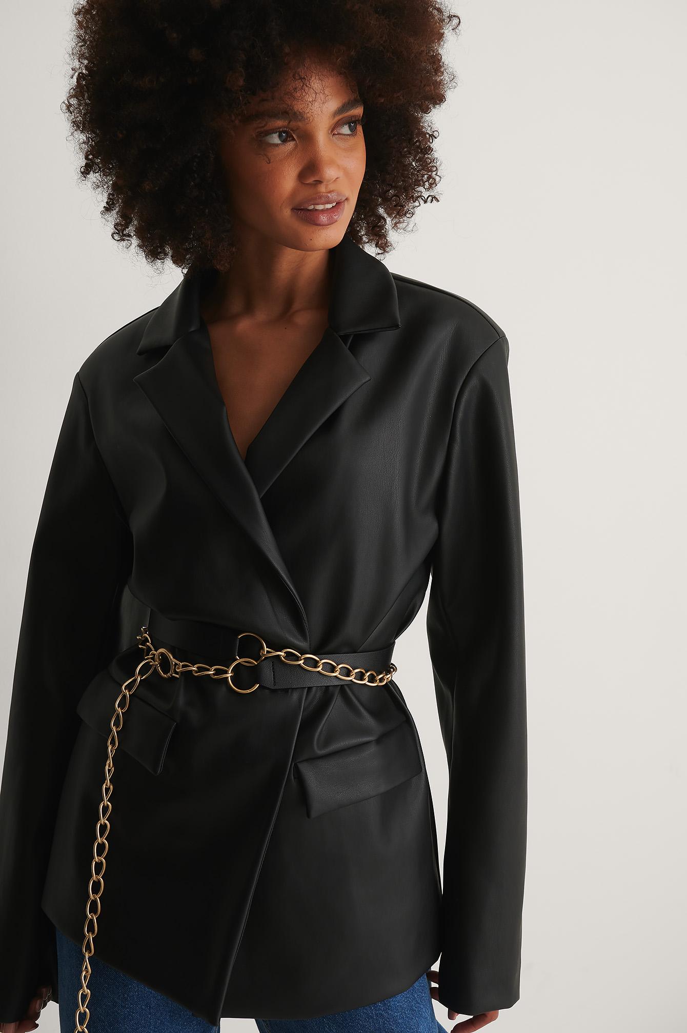 NA-KD Accessories Layered Chain Detail Belt - Black