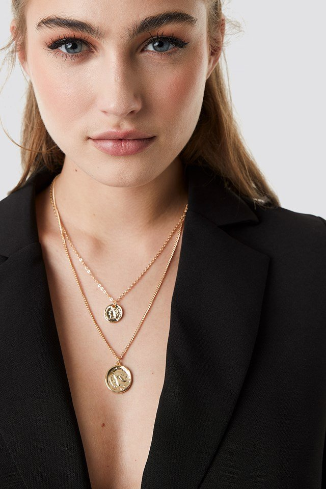 Layered Coin And Chain Necklaces Gold