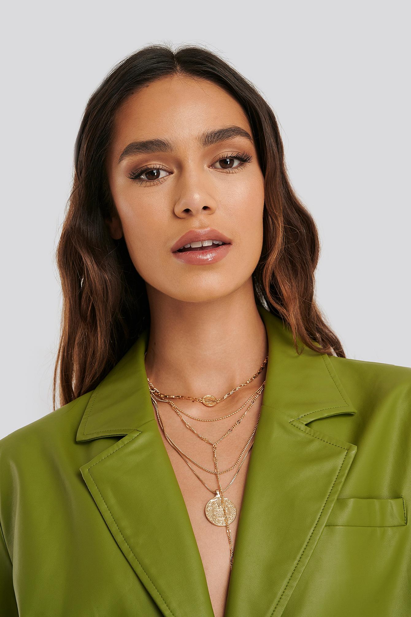 na-kd accessories -  Mehrschichtige Münz-Tropfen-Halskette - Gold
