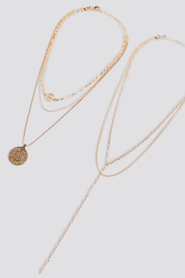 Layered Coin Drop Chain Necklace Gold