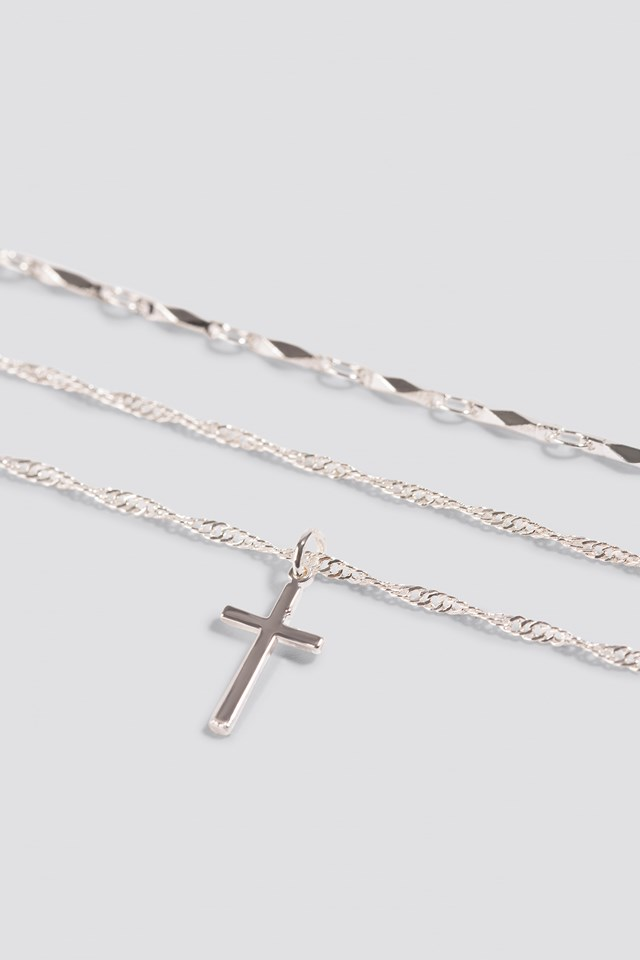 Layered Cross Necklace Silver