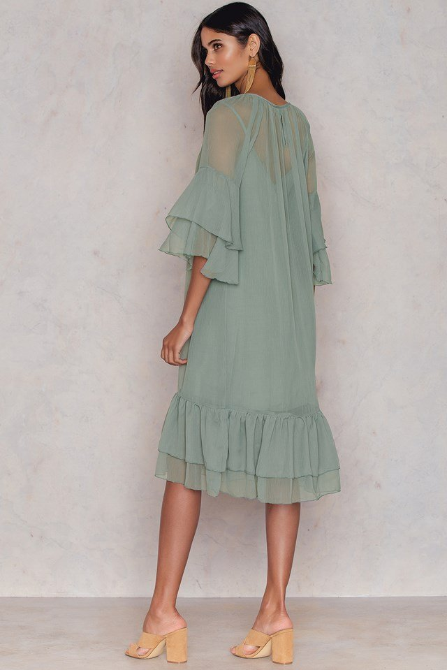 Layered Dress Dusty Green