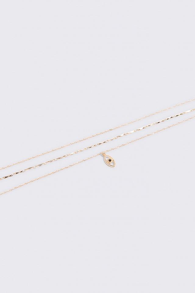 Layered Evil Eye Necklace Gold