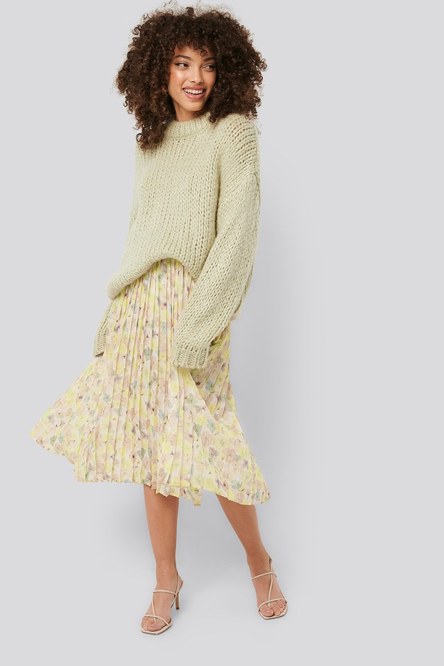 Layered Pleated Skirt Floral Print