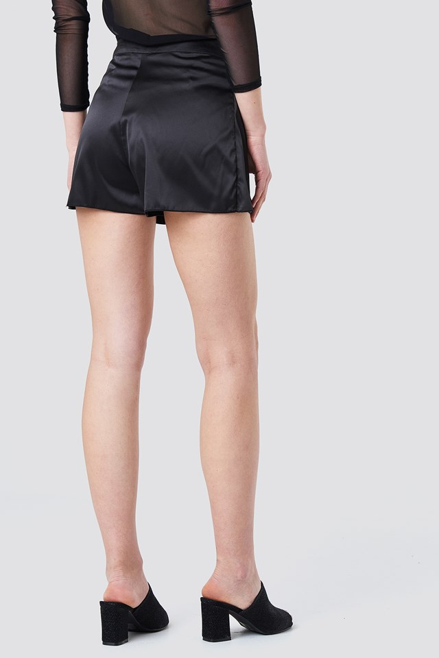 Layered Satin Shorts Black