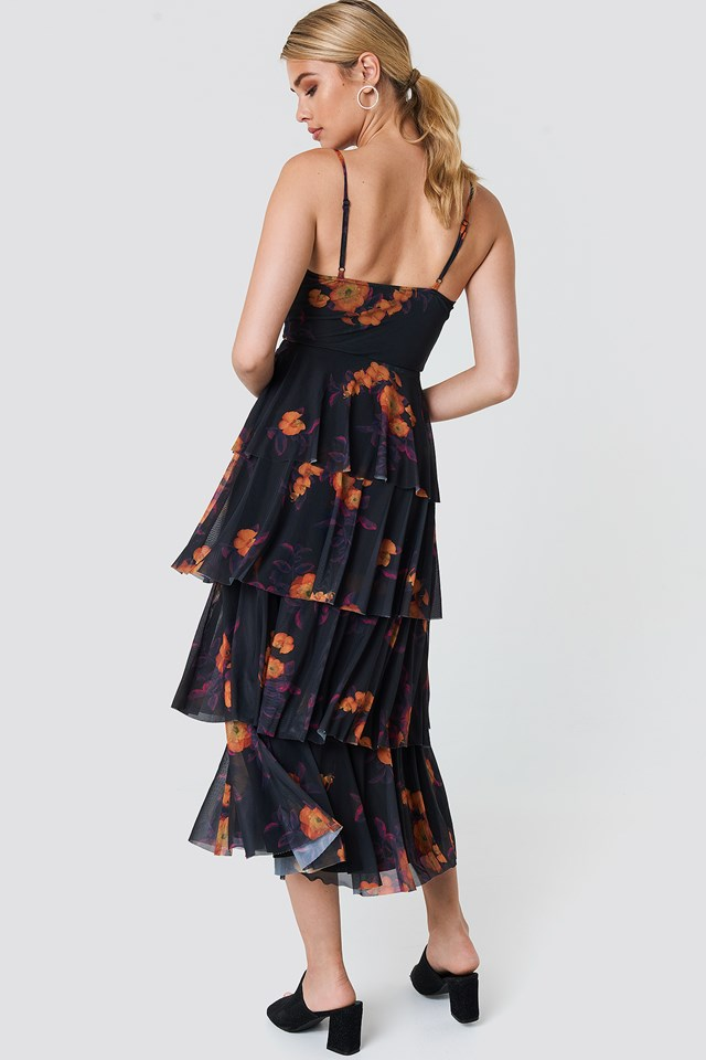 Mesh Layered Slip Dress Orange/Purple Print