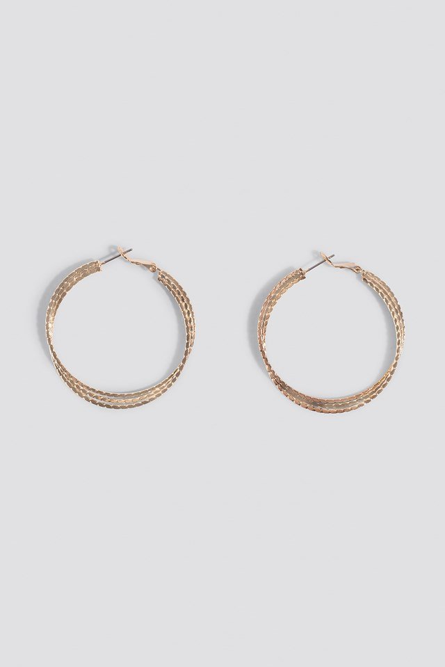Layered Structured Hoop Earrings Gold