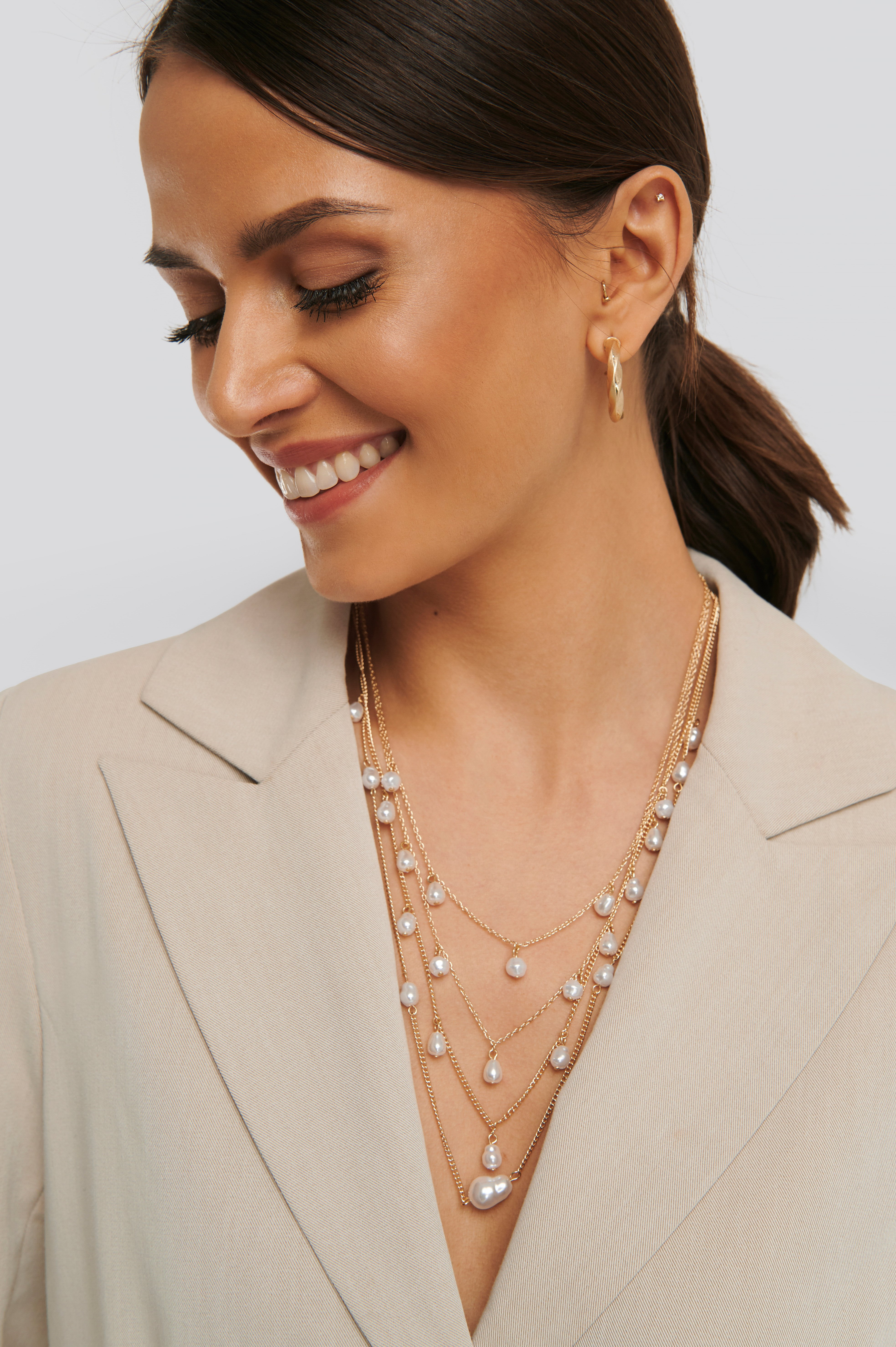 Gold Layered Uneven Pearl Necklace