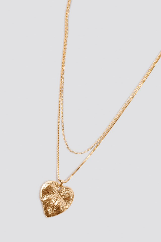 Leaf Pendant Double Necklace Gold