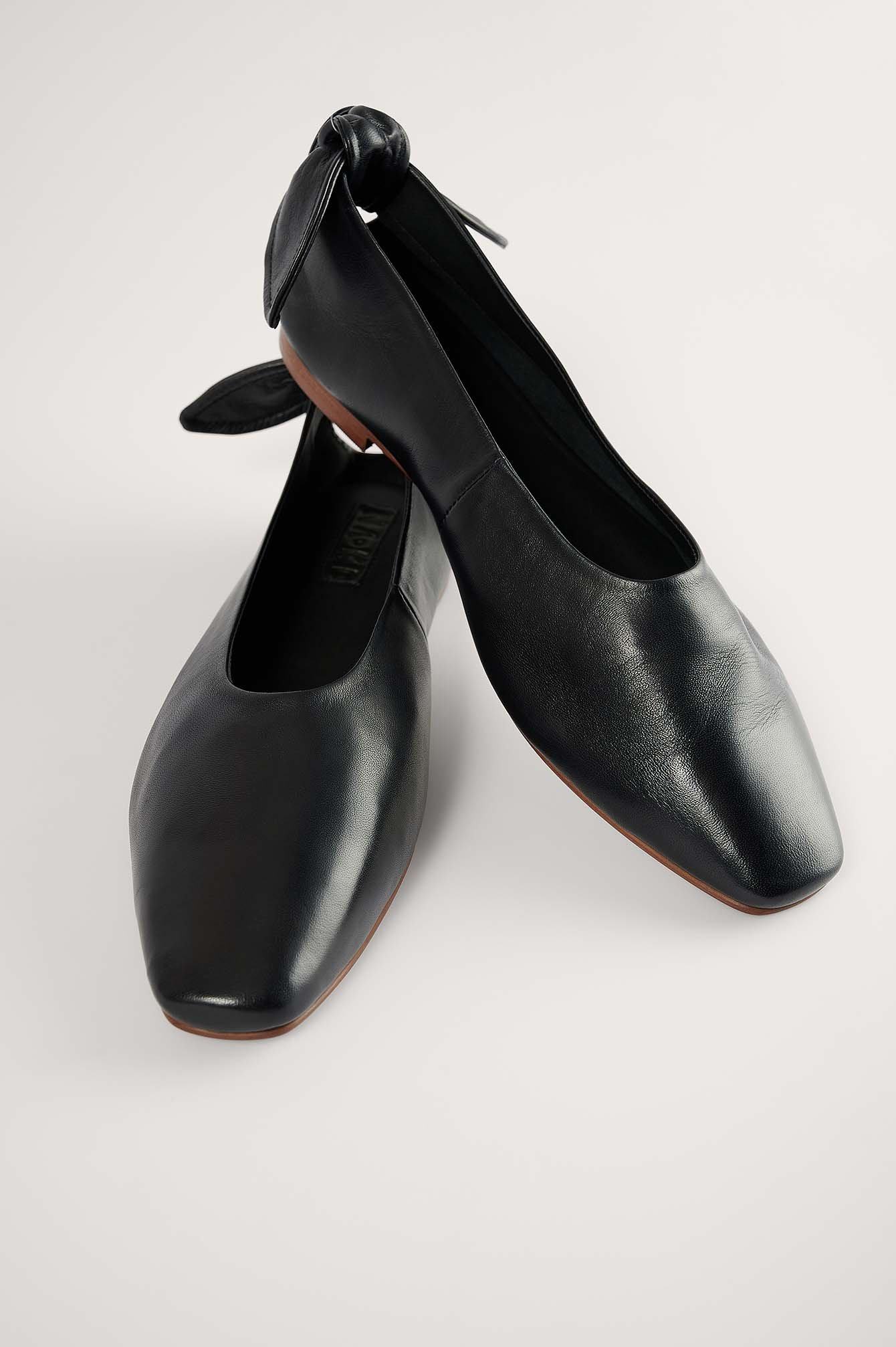 Black Leather Bow Ballerinas