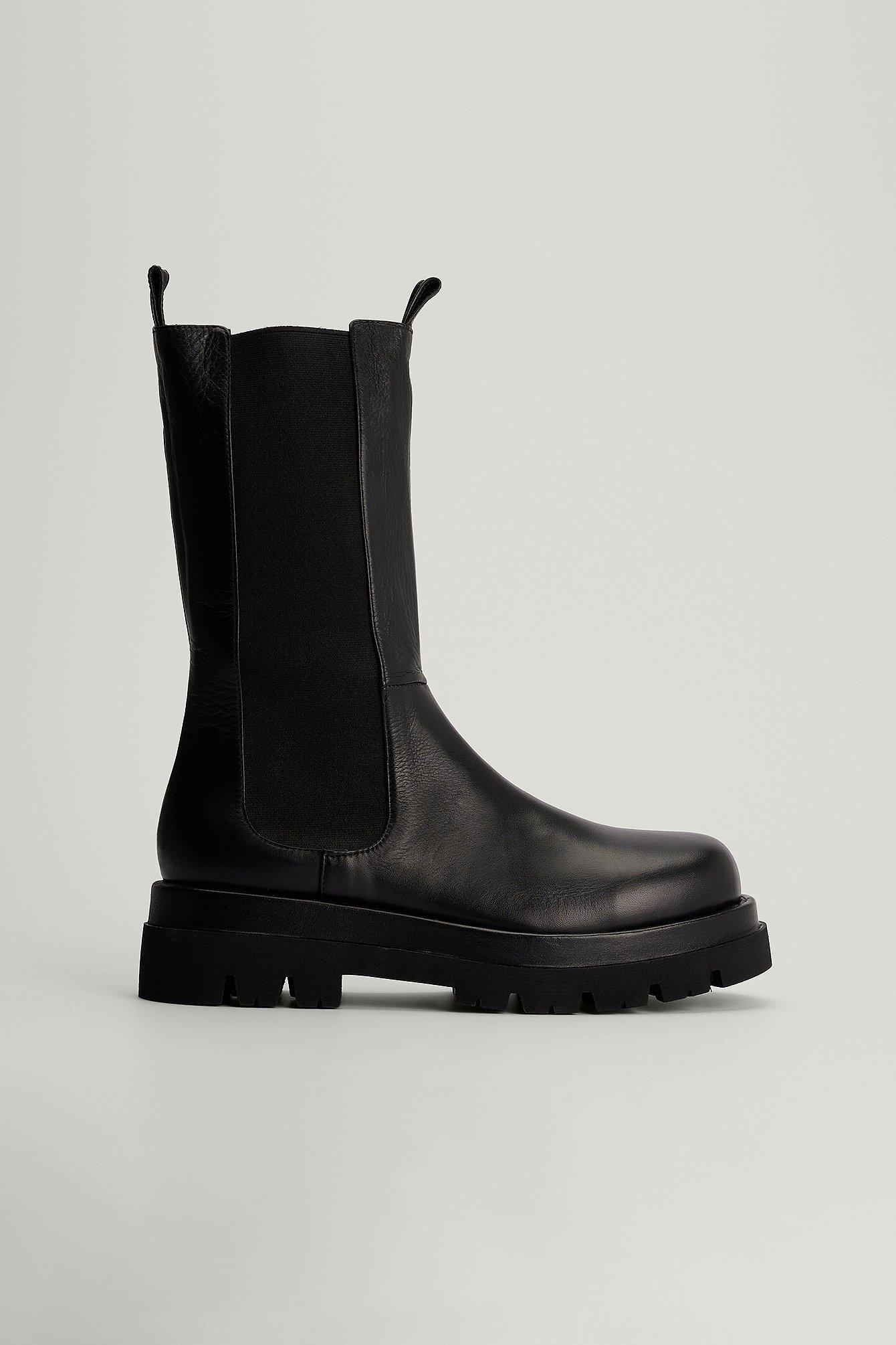 na-kd shoes -  Leder-Stiefeletten - Black