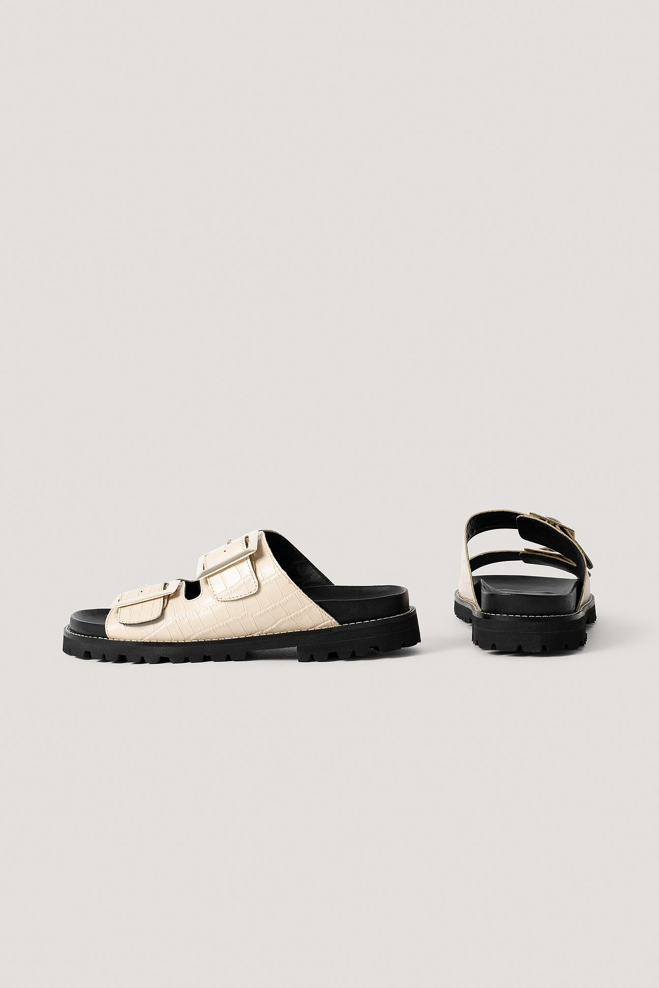 Natural Leather Chunky Buckle Sandals