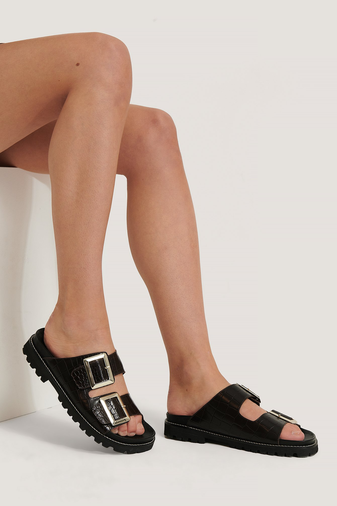 NA-KD Shoes Leather Chunky Buckle Sandals - Brown