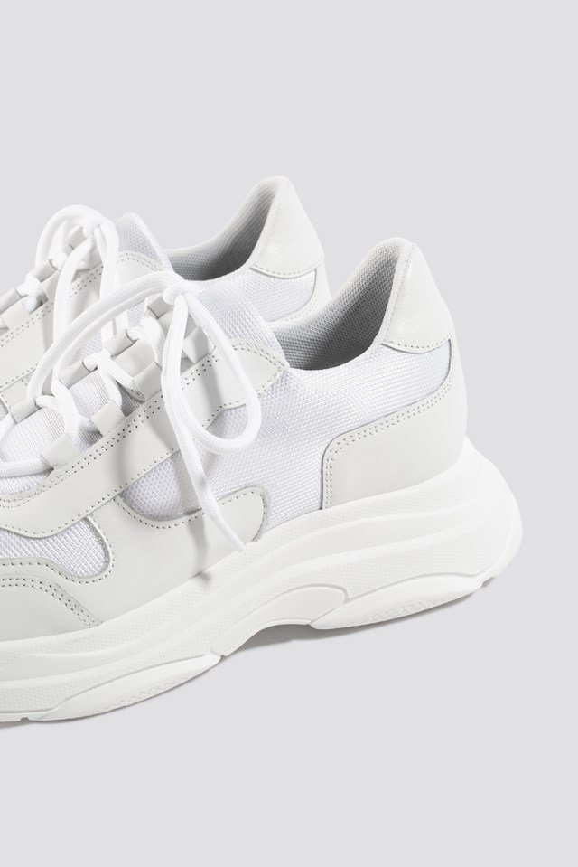Leather Chunky Trainers White