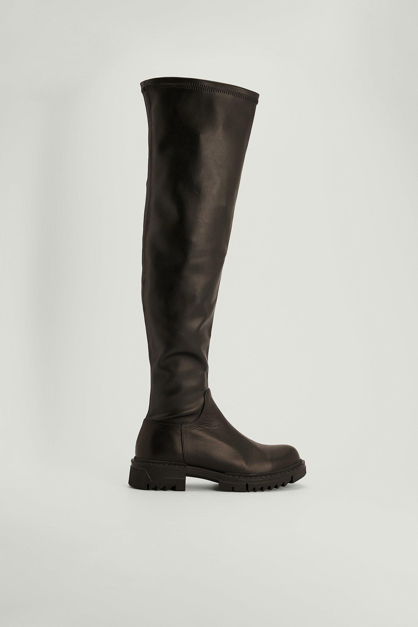na-kd shoes -  Overknee-Stiefel aus Leder - Black
