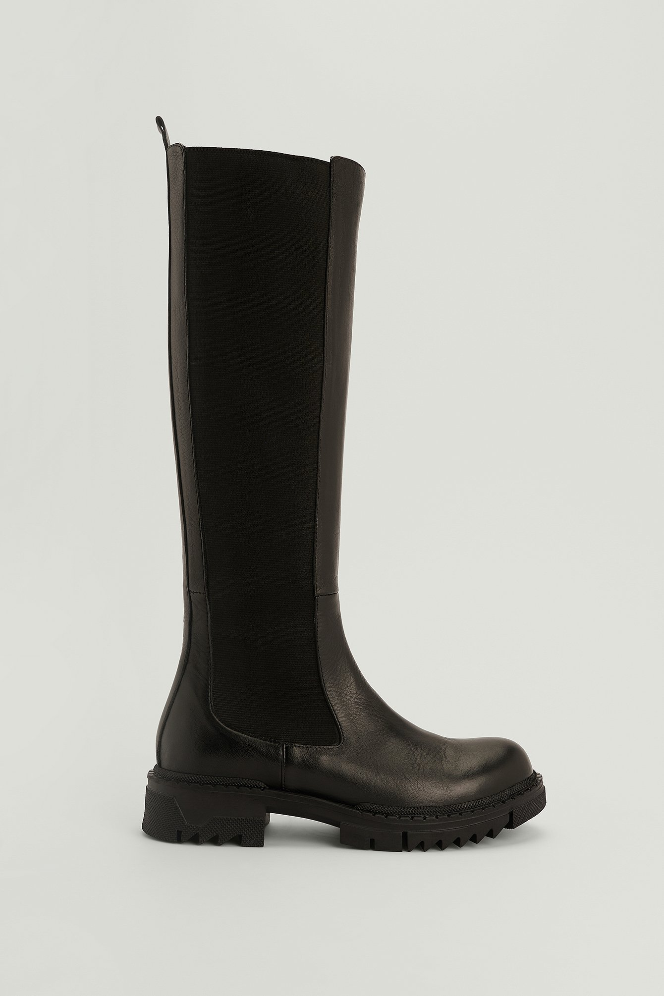 NA-KD Shoes Støvler I Læder Med Profilskaft - Black