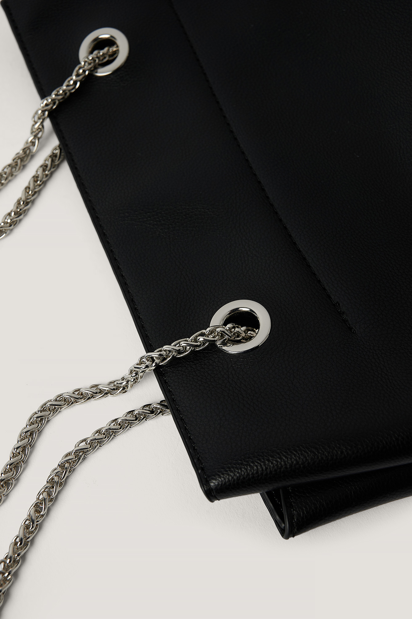 Black Leather Trapeze Chain Bag
