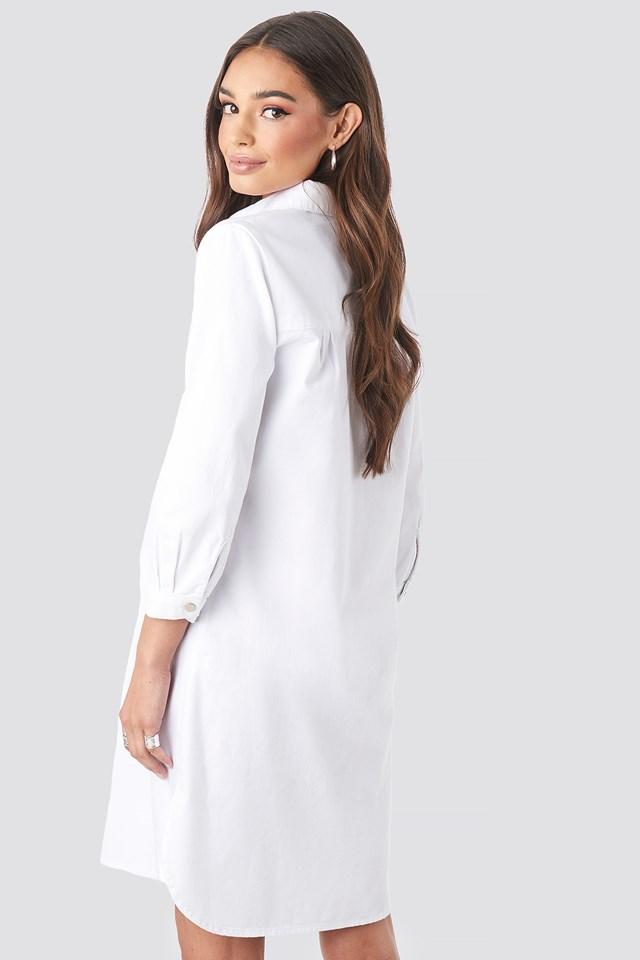 3/4 Length Sleeve Denim Shirt Dress White