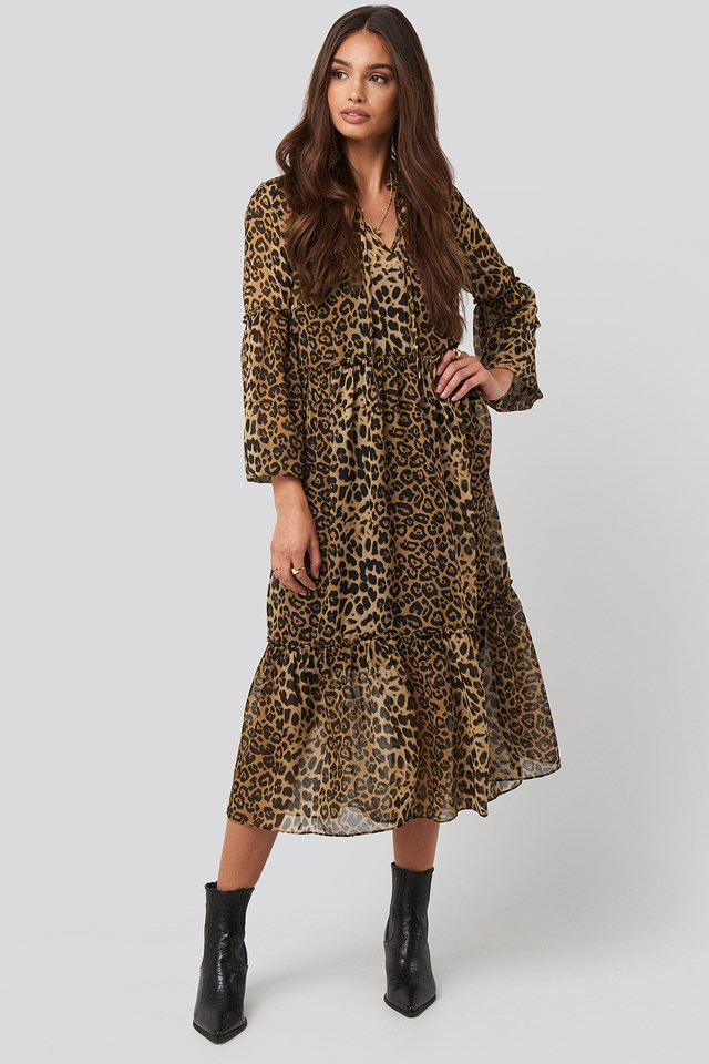 Leo Balloon Sleeve Dress Leoprint