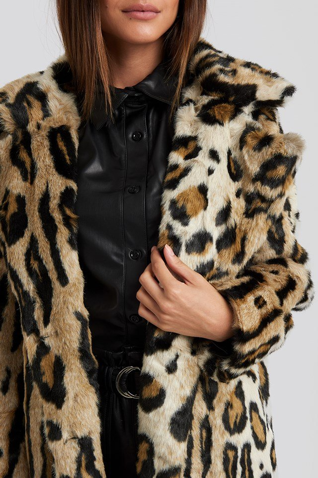 Leo Faux Fur Coat Leoprint