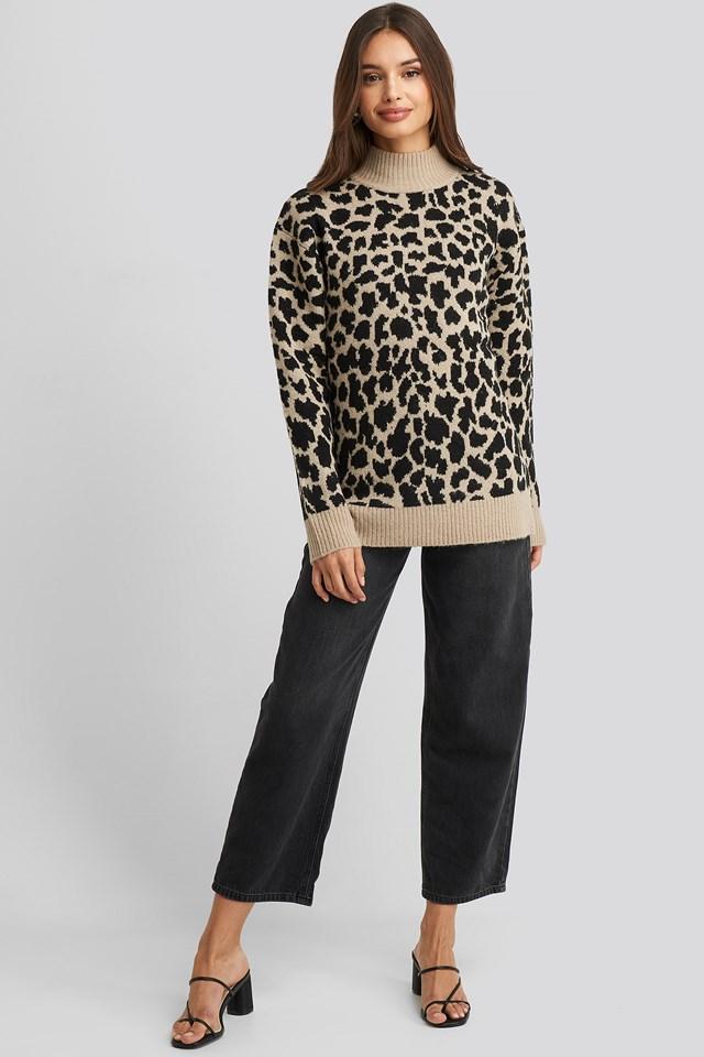 Leo Knitted Sweater beige/Black