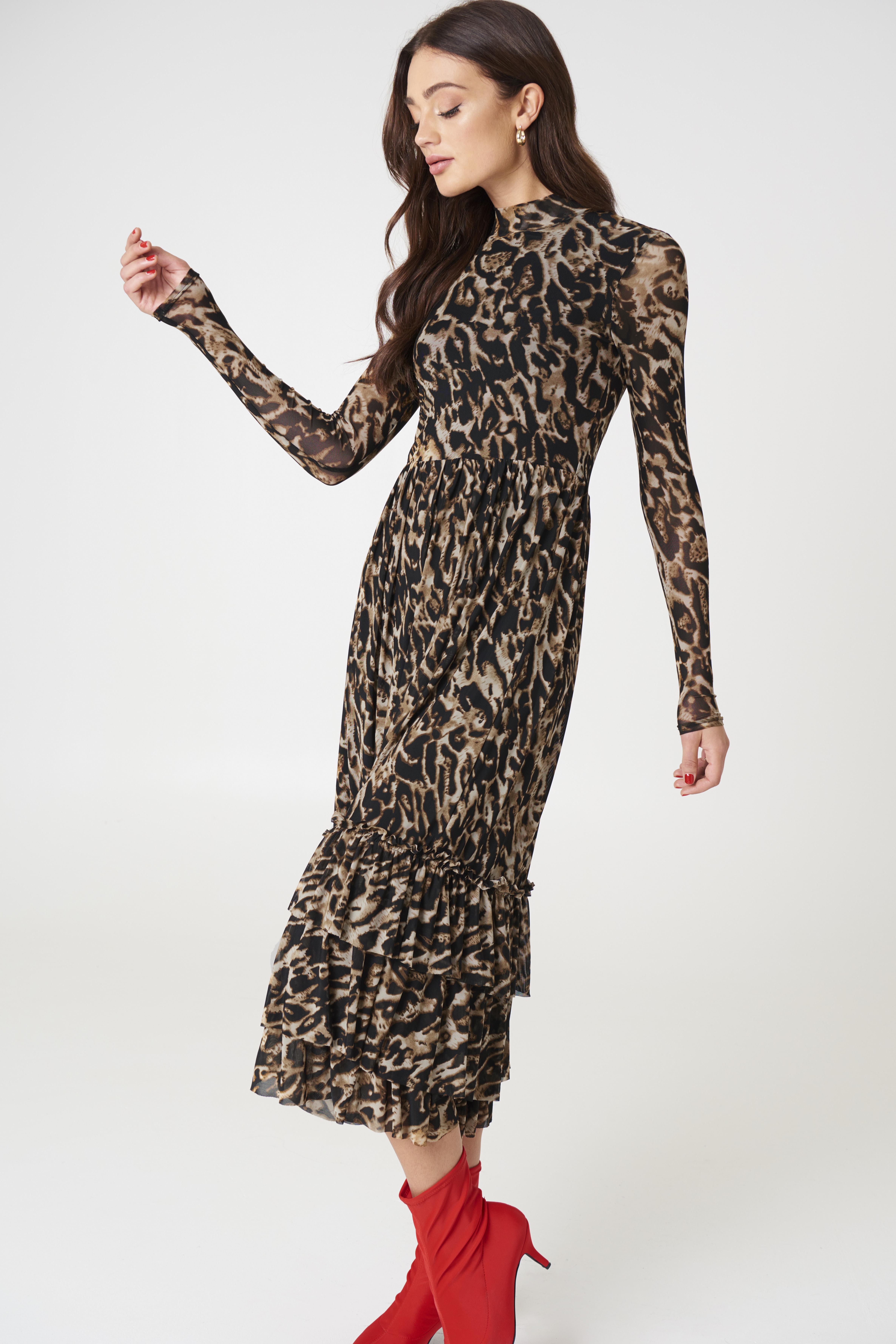 Midi Mesh Leopard Print Dress