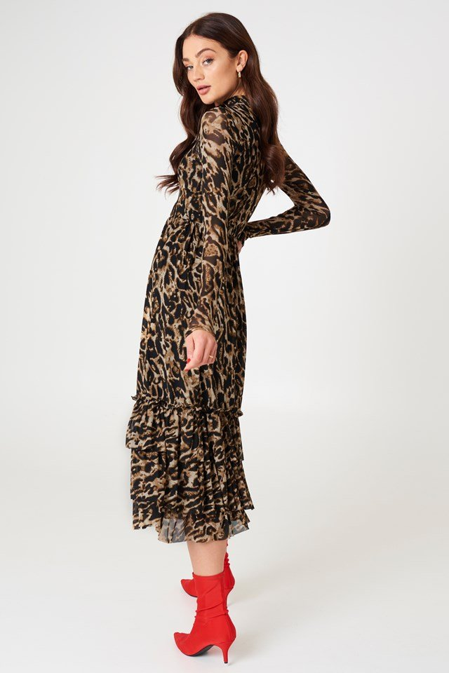 Leo Mesh Frill Dress Leoprint