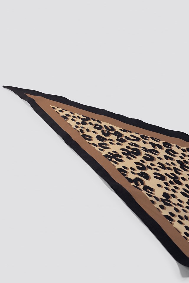 Leo Print Hair Scarf Brown