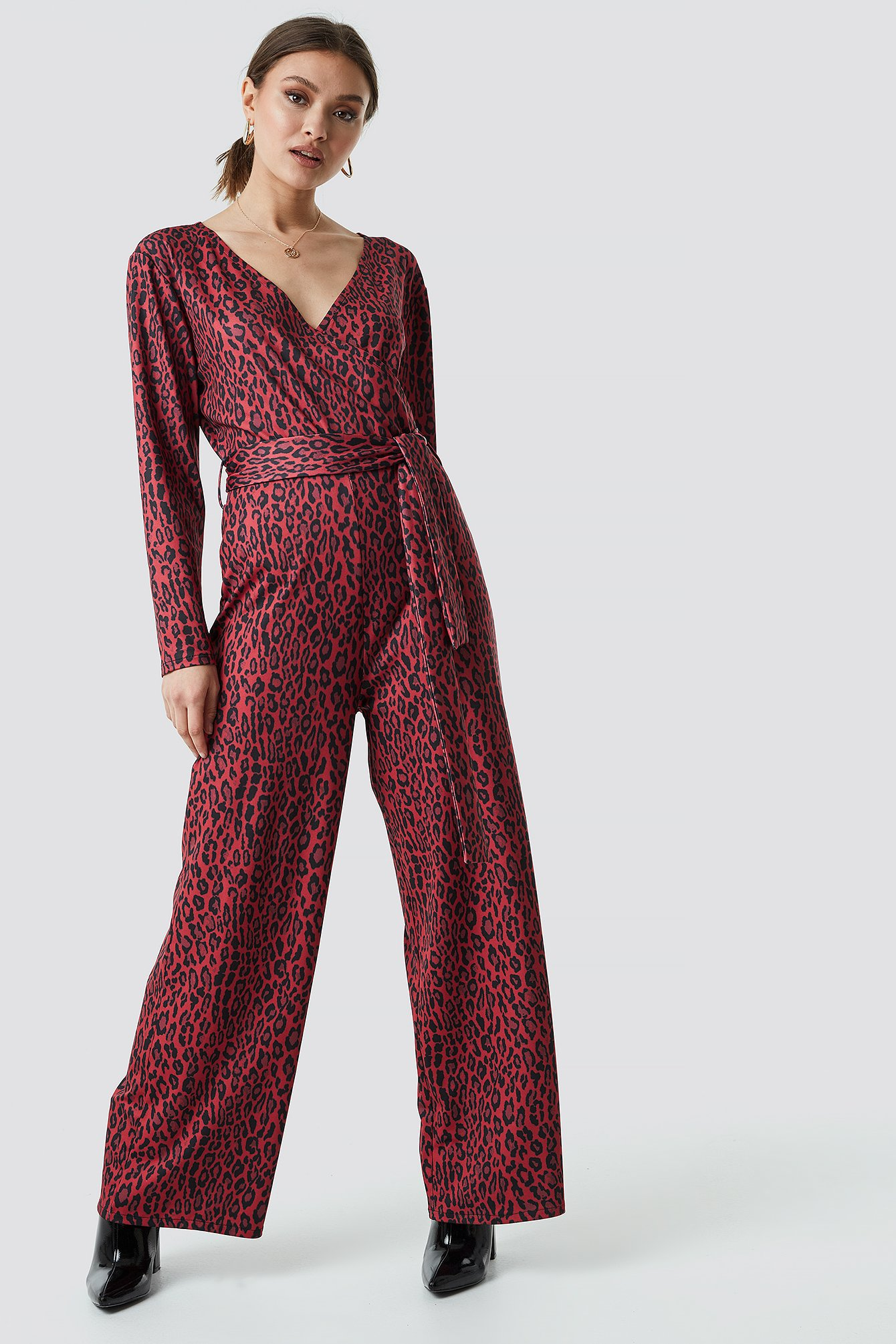 na-kd -  Leo Wrap Jumpsuit - Red